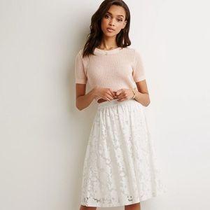 Forever 21 lace crochet midi skirt medium lined